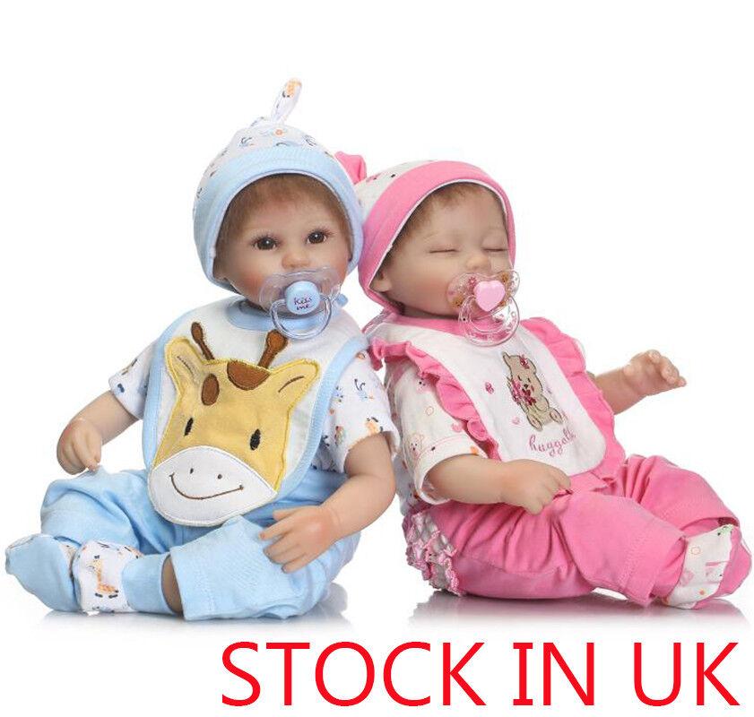 16  Gemelli fatti a mano bambola vera bambola Reborn realistica SILICONE neonato giocattolo di Natale