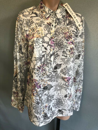BNWT Womens Sz 10 Rivers Regular Fit Cream Floral Cotton Long Tab Sleeve Shirt