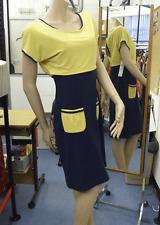 Joseph Ribkoff BNWT 10 50/50 Warm Yellow & Navy Stretch Jersey Cap Sleeve Dress