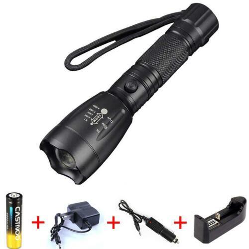 7000LM T6 Taschenlampe schwarz Outdoor Torch Akku Ladegerät New DN