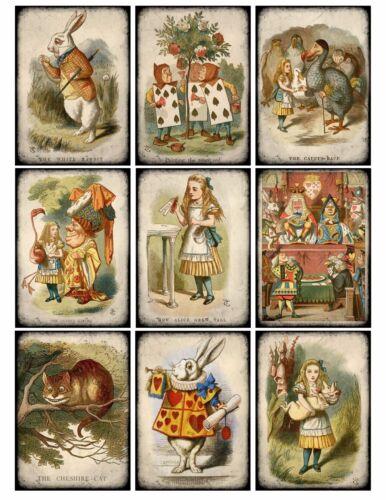 9 Alice in Wonderland Vintage Hang Tags ATC Scrapbooking 381