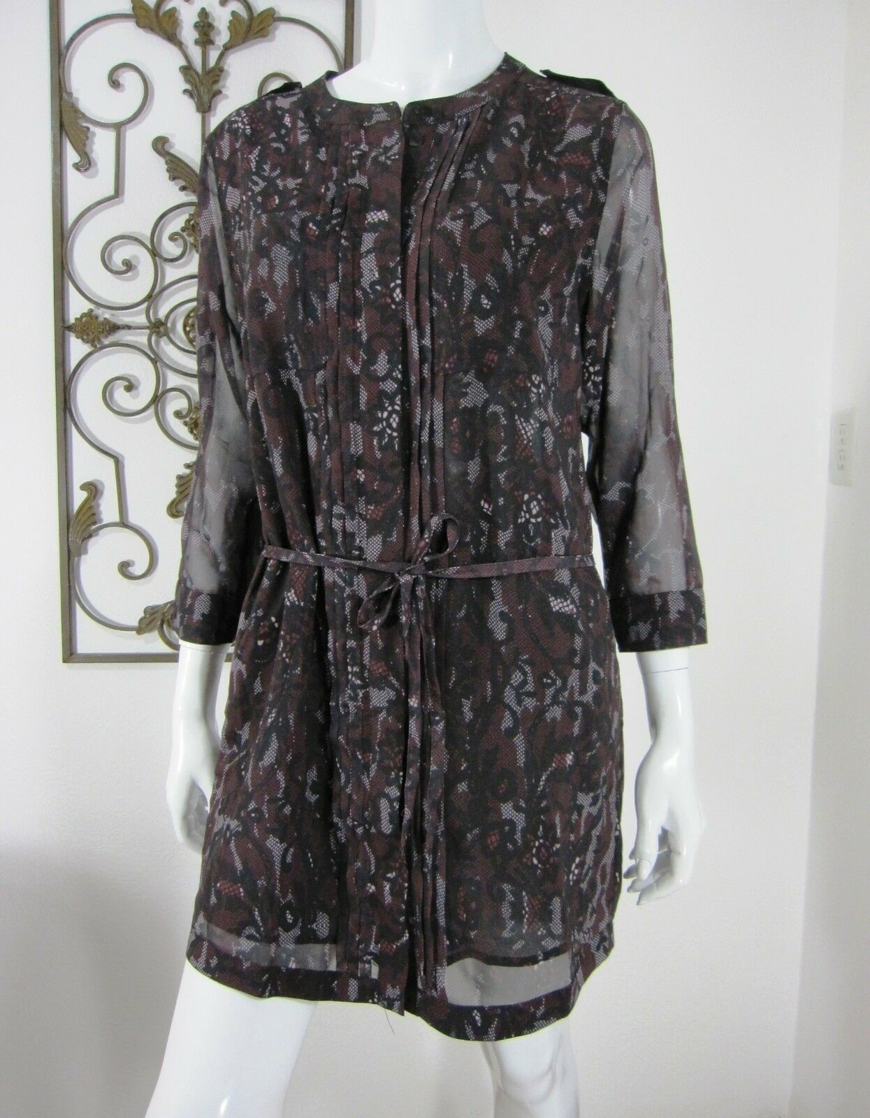 SANCTUARY NWT LONG SLEEVE DRESS Größe S SMALL braun PAISLEY
