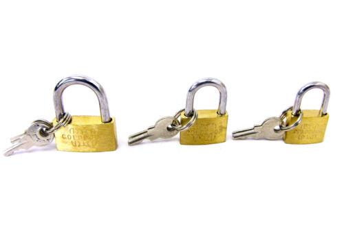 3pcs Brass Padlock Set Small Travel Lock Suitcase Hand Bags UK