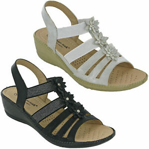 Details about Cushion Walk Sandals Slingback High Wedge Stretch Soft Summer Cushioned Comfort