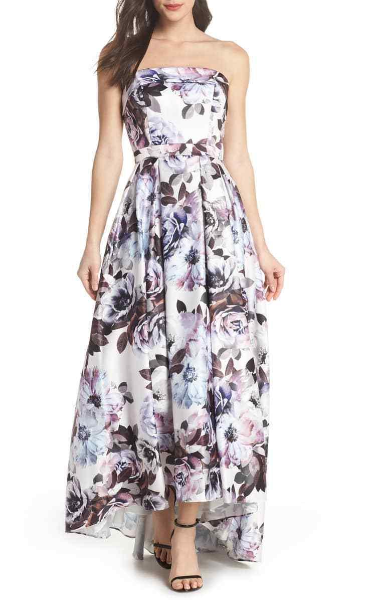 XSCAPE Womens blueE FLORAL Strapless Bustier High low Ballgown DRESS SIZE 12