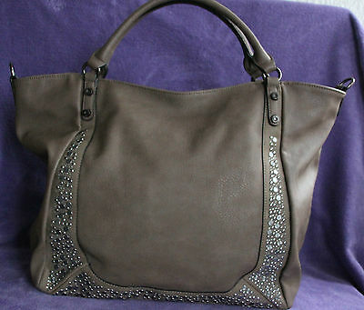 David Jones Paris Tasche Strass Applikationen XL braun Umhängetasche Nieten