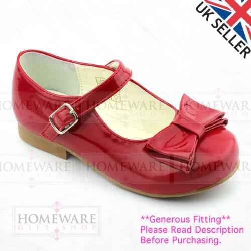 GIRLS SPANISH STYLE BOW SHOES MARY JANE PINK WHITE CAMEL NAVY BLACK SIZE UK 4-2