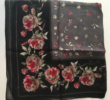 "Floral Border Black/Gray/Red Colors Halston 100% silk 20"" square Scarf"