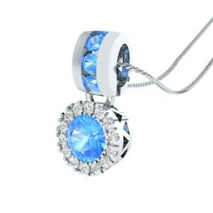 0-65-Ct-Round-Blue-Topaz-and-Sapphire-Halo-Pendant-Necklace-14k-White-Gold-GP