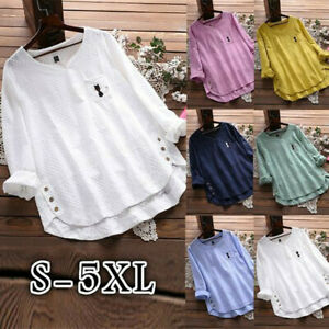 Women-Vintage-Cat-Print-Button-V-Neck-Long-Sleeve-Plus-Size-Shirt-Top-Blouse-NA