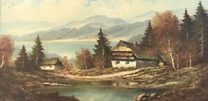 Oil-Paintings-Signed-Houses-On-Mountain-Lake-Autumn-Impressions-39-x-79-Painting