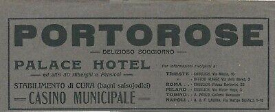 Portorose Slovenia Cartina Geografica.Pubblicita 1920 Ca Portorose Portoroz Pirano Slovenia Palace Hotel Ebay