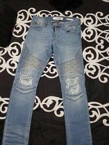 Guess Jeans De Hombre 30w 31l Blue Jeans Pantalones Skinny Fit Ripped Ebay