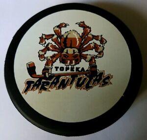 TOPEKA TARANTULAS CHL RARE VINTAGE OFFICIAL GAME PUCK - CANADA - LINDSAY MFG.