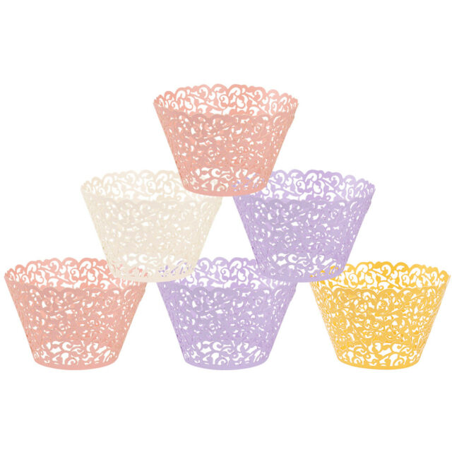 New 120pcs White Lace Cupcake Wrappers Liners Cases Wedding Party Cake Decor