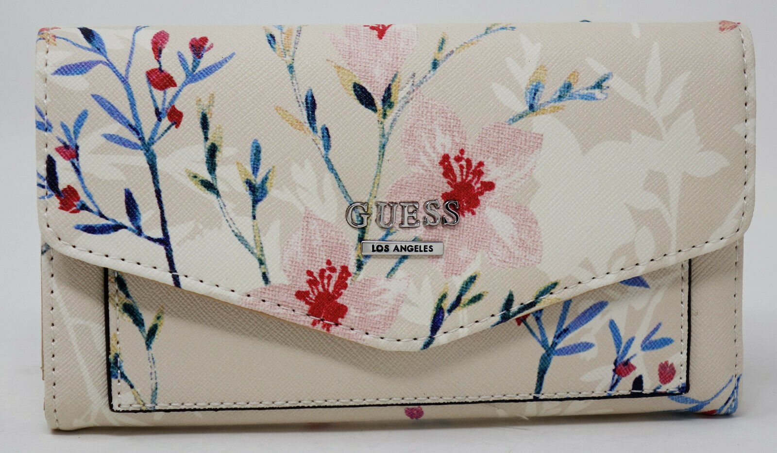 NEW GUESS Women's White Pink Blue Floral Print Slim Trifold Wallet Clutch Bag 1