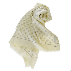 Auth-CHANEL-CC-Logo-XL-Scarf-Handkerchief-Silk-Cashmere-White-Italy-38SA389