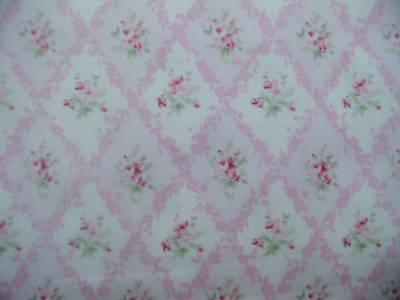 Yuwa Vintage Look Urbangardens Raspberry Pink Roses Trellis Cotton Fabric BTY