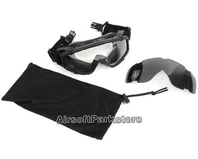 Tactical Anti-fog Clear Lens Goggle Glasses for Helmet with Side Rails Black