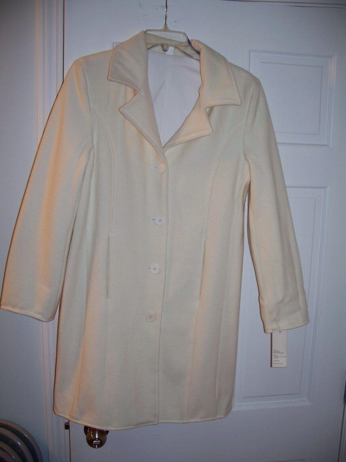NWT Women's Outeredge White Reversable Mid Length Dress Coat Size S