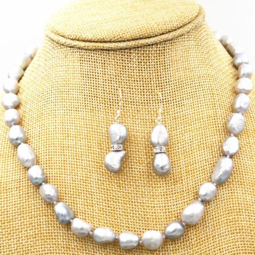Boucles d/'oreilles 18KGP Cl Nouveau 8-9 mm Silver Gray RÉEL BAROQUE Cultured Pearl Collier