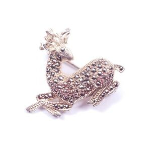 Vintage Marcasite Reindeer Pin Brooch 925 Sterling Silver 8.7g Jewellery & Watches