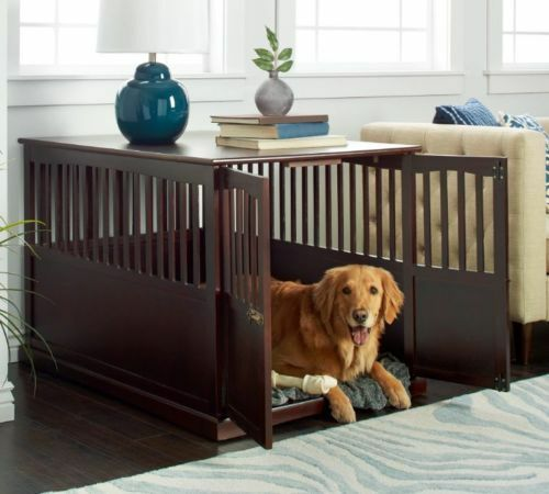 Wooden Furniture Extra Large Pet Crate Espresso Solid Wood End Table Cages  Dog  EBay Pet Crate Furniture A61