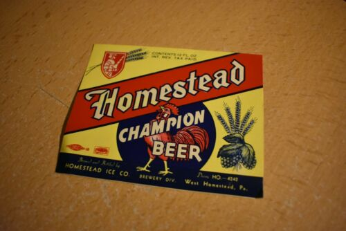 Homestead Ice Brewing Co West Homestead PA Champion Beer Label IRTP