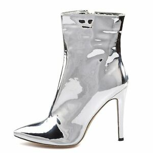 3b5d9f3798f Women Silver Ankle Boots Pointed Toe Zipper Patent Leather Stilettos ...