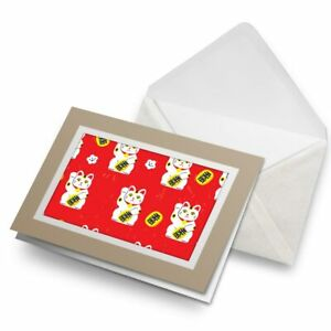Greetings-Card-Biege-Waving-Lucky-Cat-Chinese-China-Japan-8728