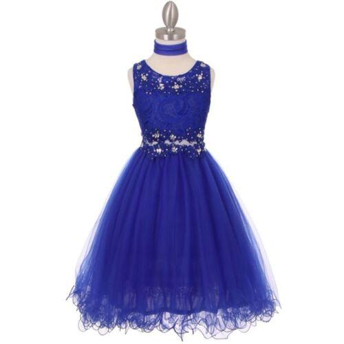 ROYAL BLUE Flower Girl Dress Bridesmaid Wedding Birthday Party Graduation Formal