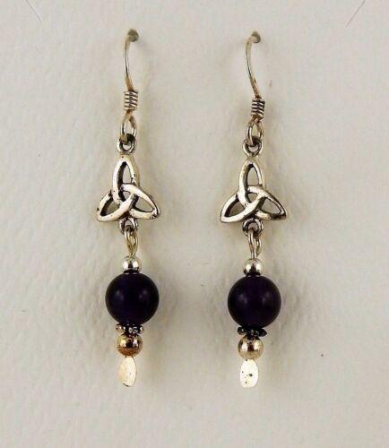 Sterling Silver Irish Celtic Trinity Knot Earrings w// genuine Garnet beads