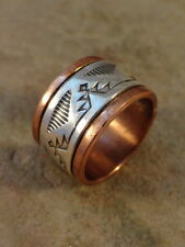 Beautiful Navajo Stamped Copper & Sterling Silver Ring sz. 7 1/2