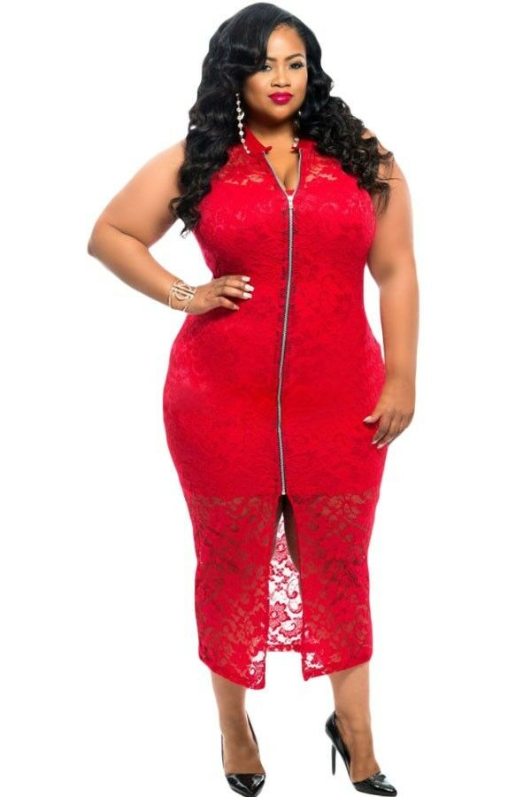 Red dress Plus Size Lace Zipper Front Dress Eveing Dress XXL
