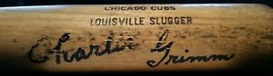 1973-79 CHARLIE GRIMM Signed CHICAGO CUBS Team Game Issued Used Bat AUTO vtg 70s