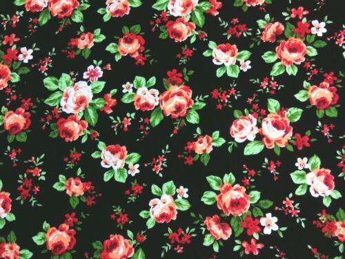 Craft Negro Rosa Rosa Floral Coser recortes de remanente de 75 cm X 100 cm Poli Algodón Tela