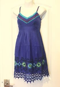 26a6139638 Image is loading NWT-SugarLips-100-Silk-Royal-Blue-Embroidered-Summer-