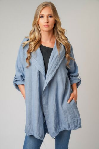 NEW LADIES ITALIAN QUIRKY LAGENLOOK LINEN ANGEL WING HOODED TWO POCKET JACKET