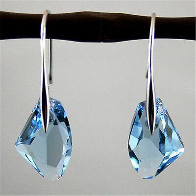Fashion Women Aqua Blue Crystal Drop Silver Hook Dangle Earrings Party Jewelry
