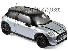 NOREV 183110 2015 15 MINI COOPER S 1/18 DIECAST MODEL CAR SILVER BLACK STRIPES