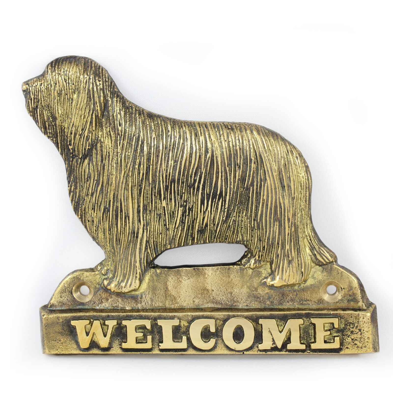 Bearded Collie  brass tablet with image of a dog, Art Dog
