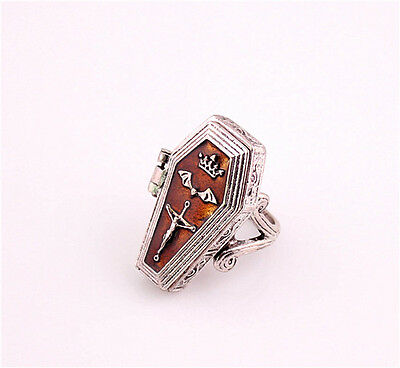 New Coming Vintage Court Style Crown Bat Wisdom Cross Locket Ring Size 7