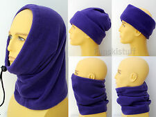 Adult PURPLE SNOOD balaclava fleece neck warmer scarf hat ski ladies mens beanie