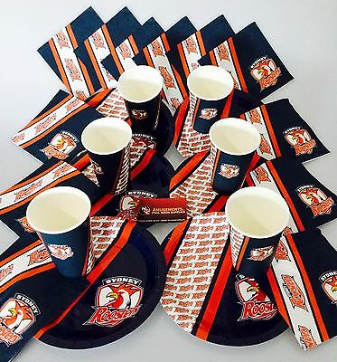 NRL Sydney Roosters Birthday Christmas Plates Cups Napkins Party Gift Pack