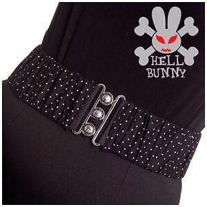 Hell-Bunny-Dottie-Belt-Plus-Elastic-Stretch-Pinup-50s-Polka-Rockabilly-S-4XL