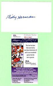 Billy Herman Signed Autograph 3x5 Index Card JSA R31381