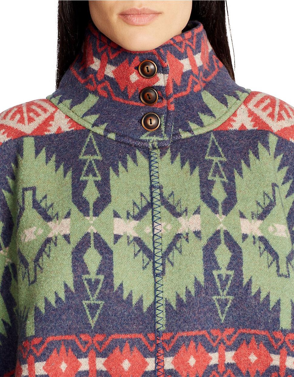 Lauren Ralph Lauren Patterned Wool Wool Wool Poncho SWEATER SOUTHWESTERN WOMENS L XL  325 630fc6