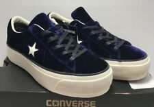 3716c2e36884 Converse Women Sz 9.5 One Star Platform Eclipse Blue Egret Velvet Black  558952C