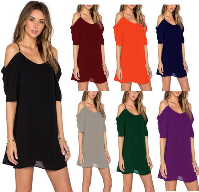 Womens Cold Shoulder Dress Ladies Plus Size Chiffon Baggy T Shirts Blouses Tops