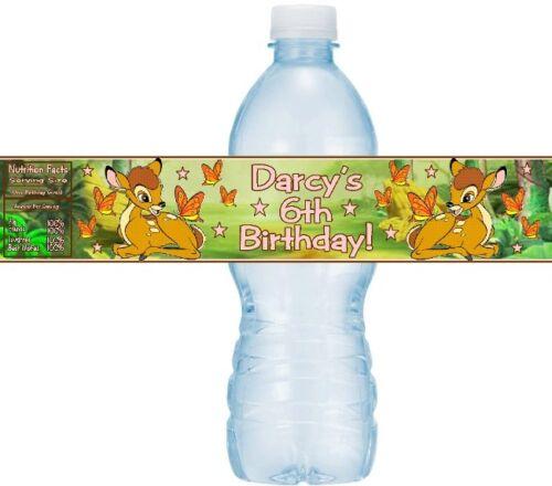 12 BAMBI fête d/'anniversaire ou baby shower Bouteille D/'eau Autocollants Étiquettes Deer